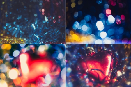 Collection of four xmas blurred  photo