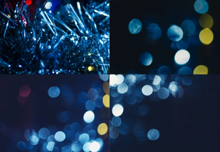 Christmas lights for wallpaper. Set of four holiday blurred  photo