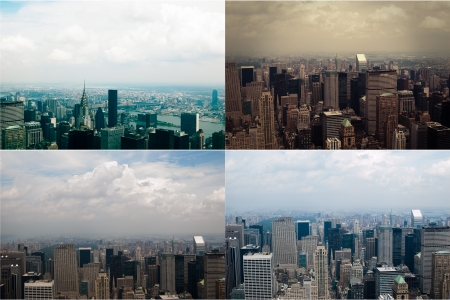 Midtown Manhattan in New York City from high perspective  Set of four colored images  NYC view from above photo