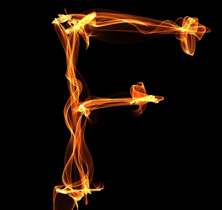 engulfed: F letter in fire illustration