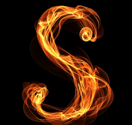 engulfed: S letter in fire illustration Stock Photo