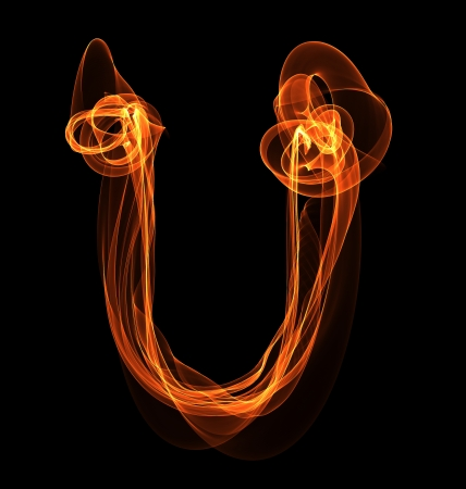 U letter in fire illustration illustration