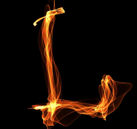 l petrol: L letter in fire illustration