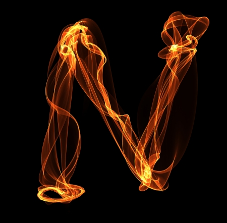 N letter in fire illustration