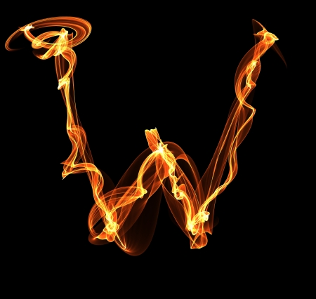 W letter in fire illustration illustration