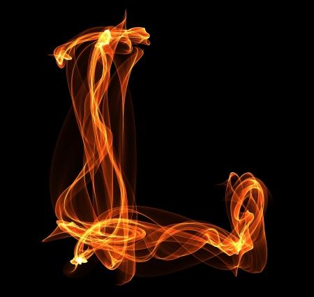 l petrol: La letra L en la ilustraci�n del fuego en fondo negro Foto de archivo