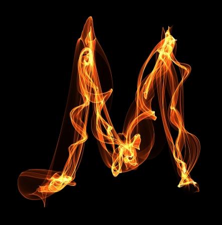 M letter in fire illustration