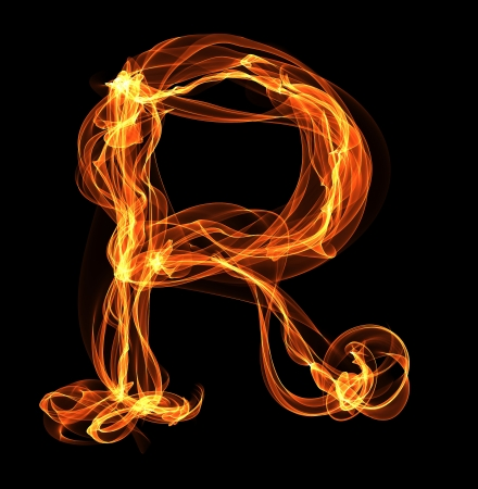 R letter in fire illustration. Flame ABC illustration