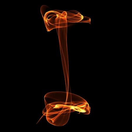 I letter in fire illustration