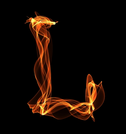 L letter in fire illustration