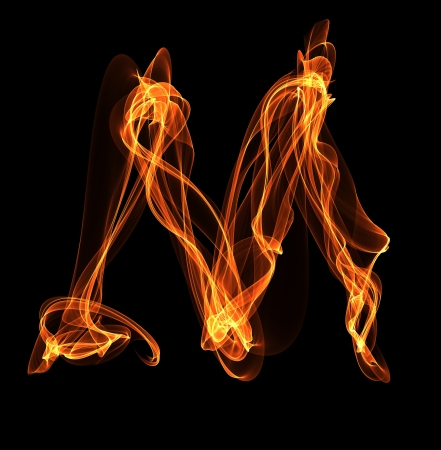 Fire ABC. M letter in fire illustration