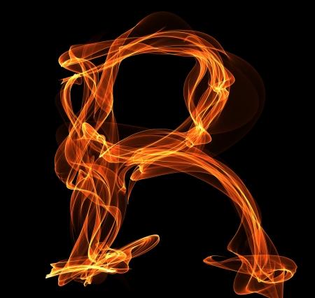 lettre de feu: Feu ABC. lettre R dans l'illustration d'incendie