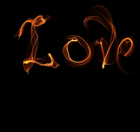 Word love fire illustration and place for text