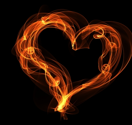 burning heart: Burning fire heart illustration Stock Photo