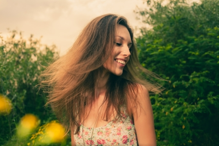 Wind in hair in summer photo