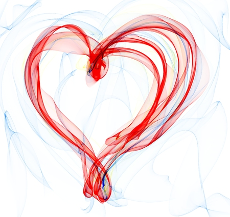 red and blue smoke heart illustration  on the white background