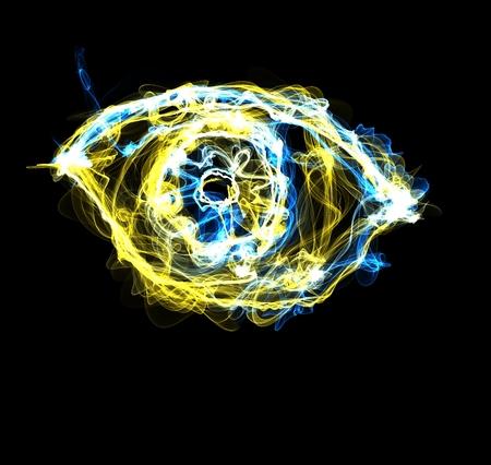 Eye of fire on black photo