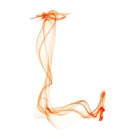 l letter made of fire Banco de Imagens