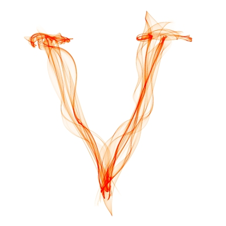 v letter made of fire photo