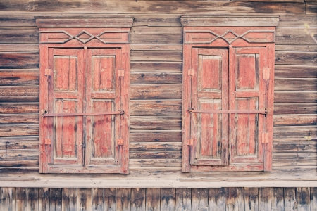 Two obsolete wooden windows , Russian traditional style photo