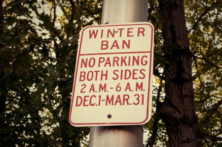 Winter ban. Parking Road Sign colorized image photo
