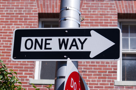One way road sign photo
