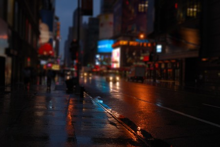 colorized: NY street at night blurred view . Colorized image