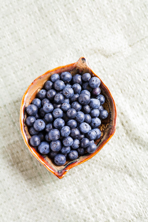 colorized: Vertical image of a ripe blueberry in plate on canvas colorized image