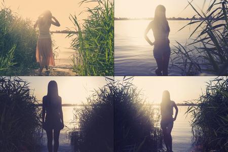Retro weared Frauen auf Seen Ufer Rückansicht färbt getönten Bild Sammlung von 4 Bilder