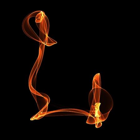 l petrol: L carta. Fuego ABC sobre fondo negro