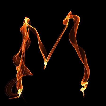 M letter. Fire ABC on black background Stock Photo