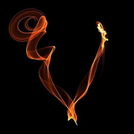 V letter. Fire ABC on black background photo