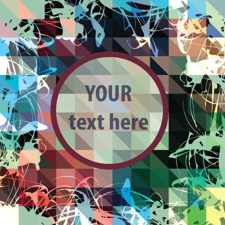 Round frame for text over colorful triangles background. Vector