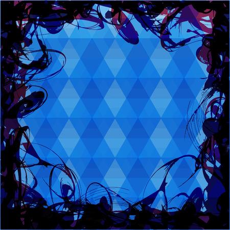 indie: Marco para el texto sobre fondo tri�ngulos de un azul colorea
