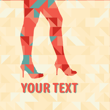 sexy legs: Sexy legs on a triangles pattern Illustration
