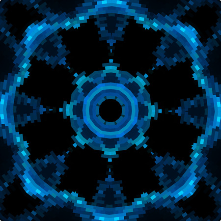 Blue vector mandala like design in blue color on black Vector