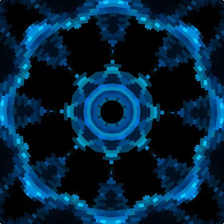 Blue vector mandala like design in blue color on black Stock Vector - 28459879