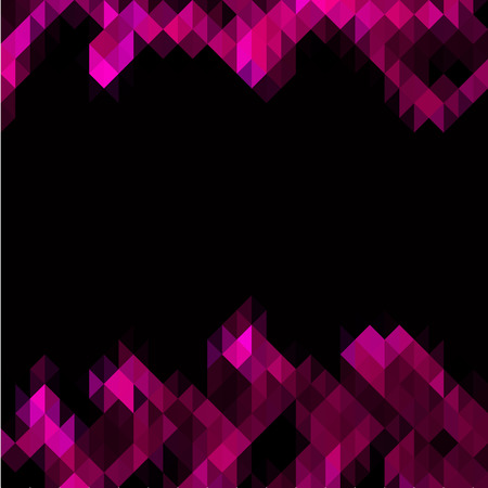Pink triangles set as frame for text on black background Vector