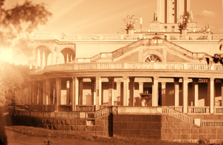 Old historical building sepia toned  backlit photo