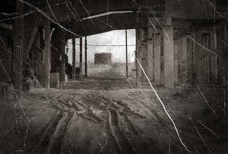 Retro photo of abandoned indastrial place  Stock Photo