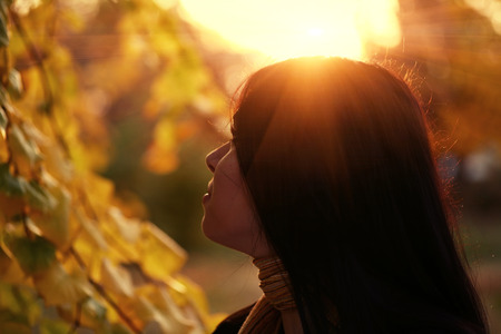 profile view: Young pretty woman in the autumn park profile view backlit by sunset headshot