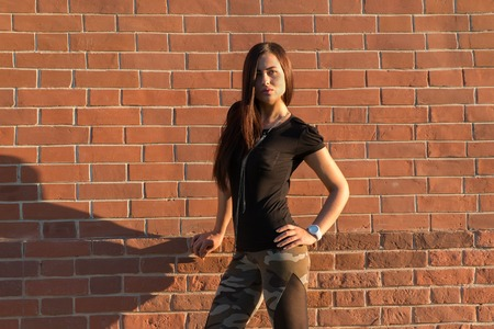 Brunette elegant woman in front of brick wall backround.