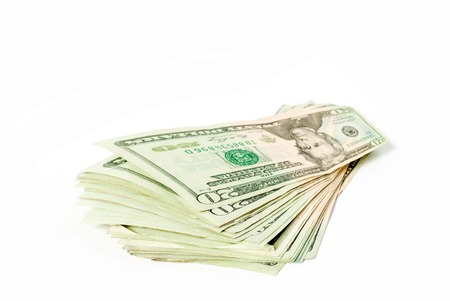 20 dollars bill. Wide angle view. Isolated over white. Business concept photo