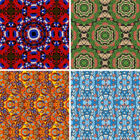 Collection of square colorful wallpapers. Seamless vector pattern oriental geometrical texture set of four. Vector