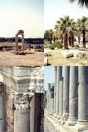 Set of images of ancient ruin in Side, Turkey. photo