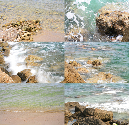 Sea surf on a rocks and calm water of the sea - collection of images. photo