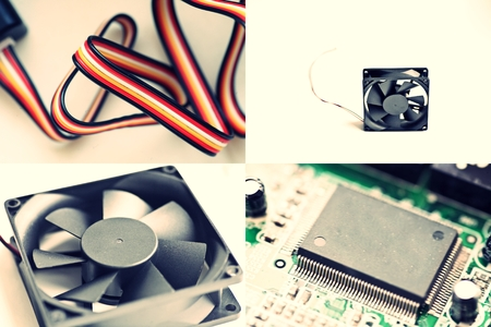 Chip, fan and colorful wires. Collection of images. photo