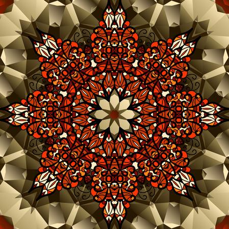 Kaleidoscope design. Mandala lotus flower symbol. Stylized chakra image Vector