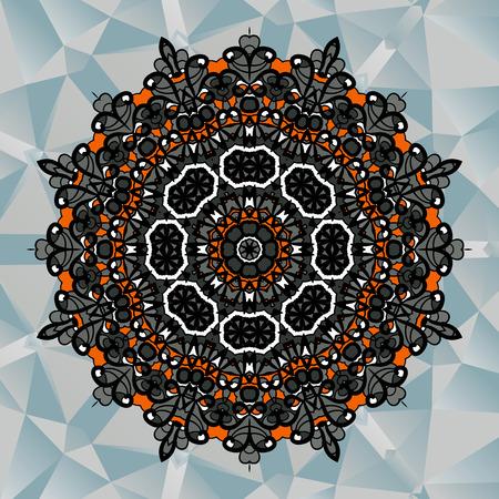 Mandala design on blue triangles background Vector