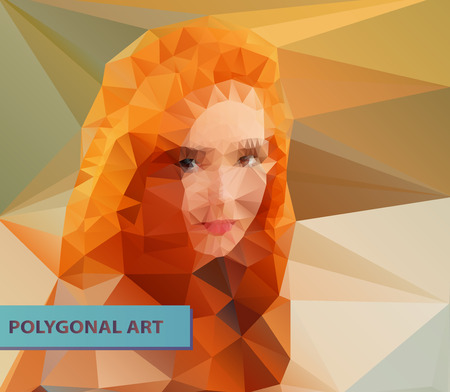 Red haired girl closeup abstract polygonal face. Triangles portrait for your design. Geometrical lines eps 10. Vector